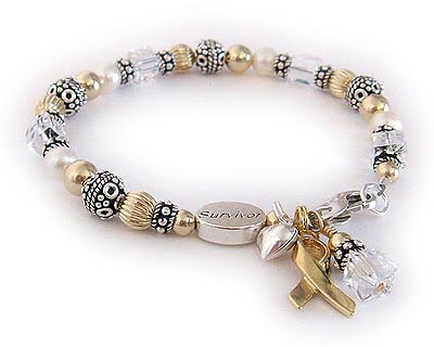Lung Cancer Ribbon Bracelet with a Survivor Bead - CBB-R26